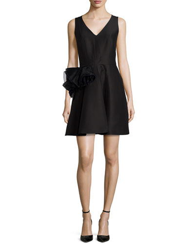 Sleeveless Cocktail Dress with Floral Detail, Black