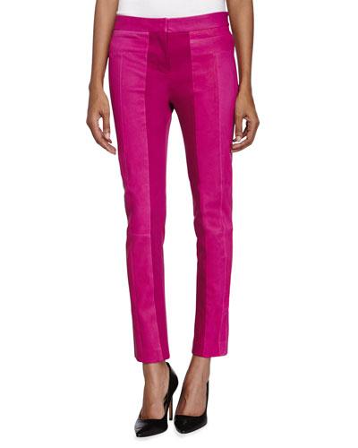 Ponte-Trim Leather Pants, Bright Magenta