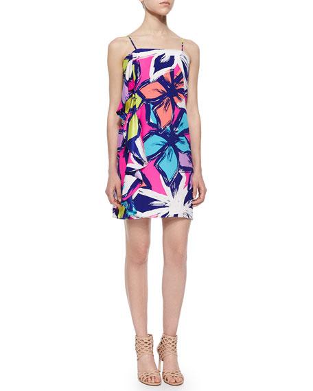 Alice & Trixie Spaghetti Strap Floral-Print Ruffle Dress