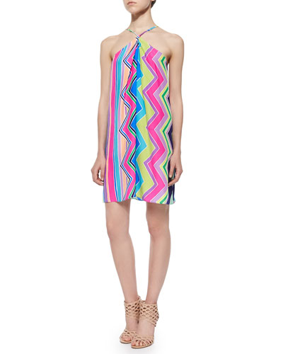 Sleeveless Halter Striped Trapeze Dress