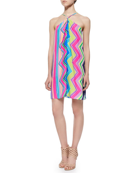 Alice & Trixie Sleeveless Halter Striped Trapeze Dress