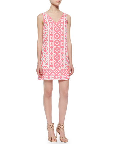 Sleeveless Tile-Print Shift Dress