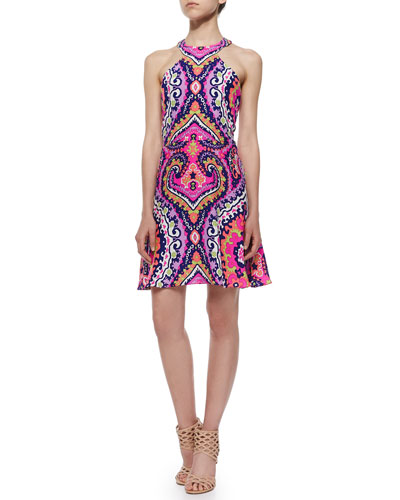 Sleeveless Paisley-Print A-line Dress