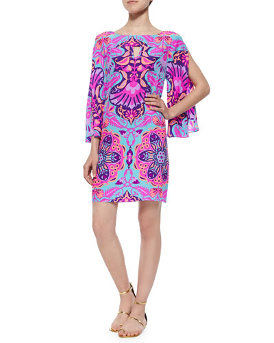 3/4-Sleeve Ikat-Print Shift Dress