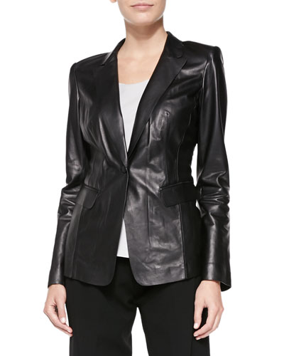 Stelly Leather Jacket with Lace Back