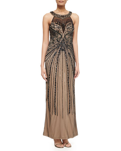 Sleeveless Halter Embroidered Column Gown