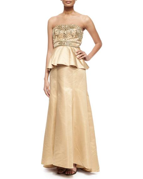 Strapless Beaded Bodice Peplum Gown