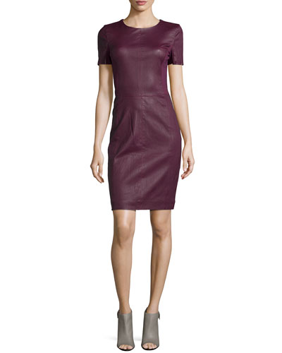 Fitted Leather-Front Dress, Bordeaux