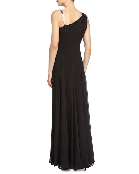 One-Shoulder Beaded Detail Gown, Black