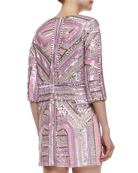 Petra 3/4-Sleeve Sequin-Beaded Shift Dress