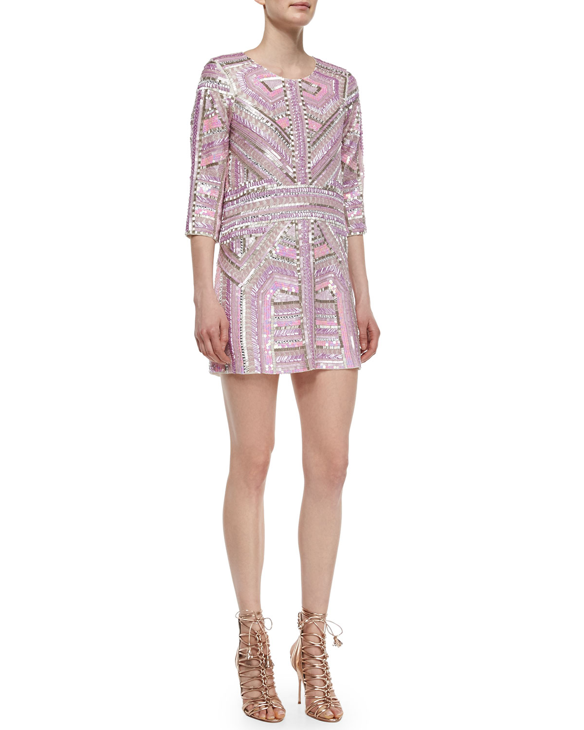 0be8ad9a5adf Parker Petra 3/4-Sleeve Sequin-Beaded Shift Dress | Neiman Marcus