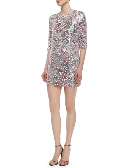 Petra 3/4-Sleeve Sequined Shift Dress