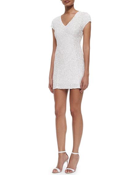 Parker Serena Cap-Sleeve Sequined  Dress