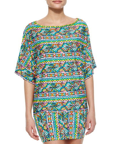 Bora Bora Striped Jersey Tunic, Multi
