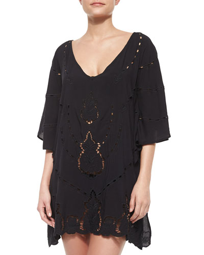 Embroidered Short Solid Caftan, Black