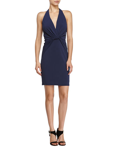 Halston Heritage Halter Front-Knot Cocktail Dress, Navy