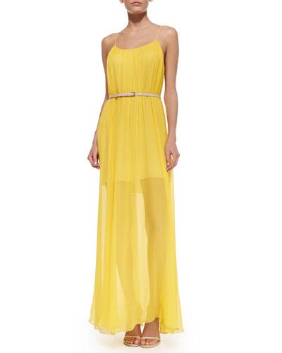 Spaghetti-Strap Flowy Maxi Dress W/ Belt