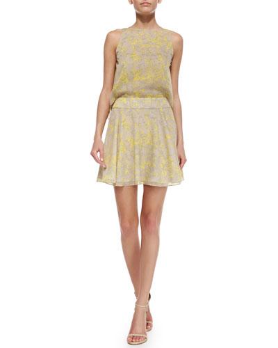 Sleeveless Printed Flared Dress