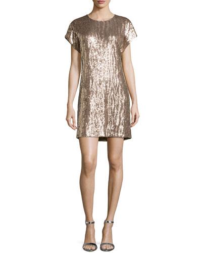 Zebra Sequin Shift Dress, Petal