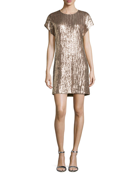 Zebra Sequin Shift Dress, Petal