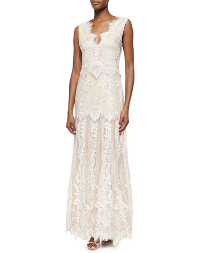 Joanna Cap-Sleeve Lace Mermaid Gown