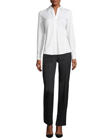 Stretch Cotton Katie Side-Zip Shirt