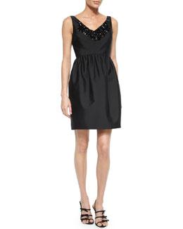 sleeveless embellished v-neck dress
