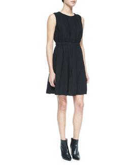 pleated sleeveless crewneck dress, black