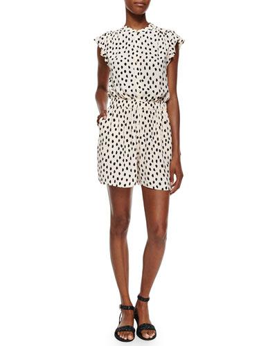 cap-sleeve leopard-print short jumpsuit