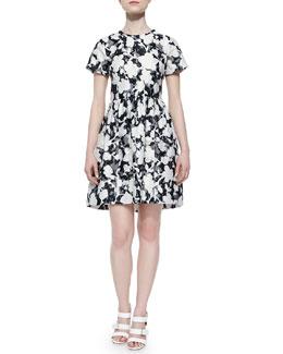 short-sleeve floral & lace dress