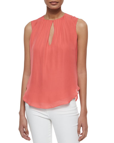 Abella Shirred Keyhole Top, Coral