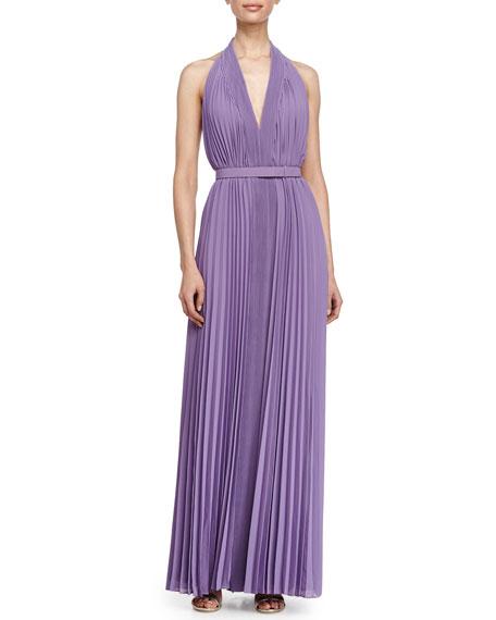 Halston Heritage Pleated V-Neckline Gown, Violet