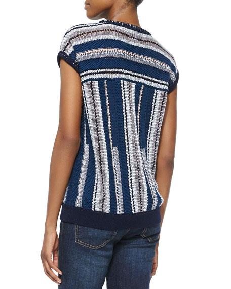 Mercerized Cotton Short Sleeve Sweater