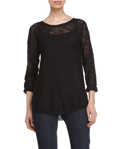 Sheer Three-Quarter-Sleeve Sweater, Black