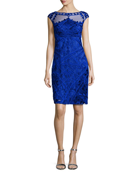 Sue Wong Embroidered Cap-Sleeve Sheath Cocktail Dress, Cobalt