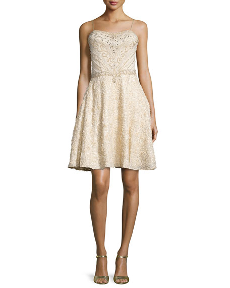 Sue Wong Spaghetti Strap Fit & Flare Sequined