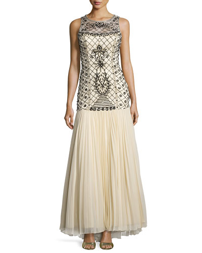 Sleeveless Sequined Pleated Gown