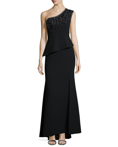 One-Shoulder Beaded Peplum Gown