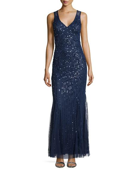 Aidan Mattox Beaded Sleeveless Gown, Twilight