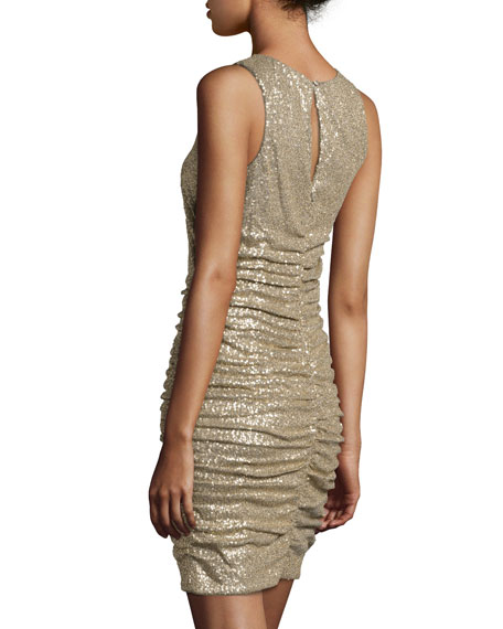 Ruched Sequin Cocktail Dress, Gold