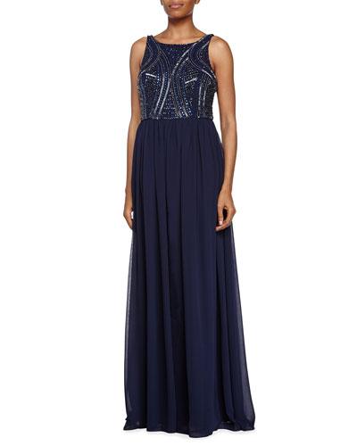 Bateau Neckline Gown with Beaded Bodice, Twilight