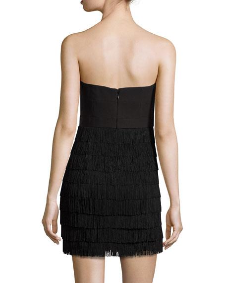 Tiered Fringe Strapless Mini Dress, Black