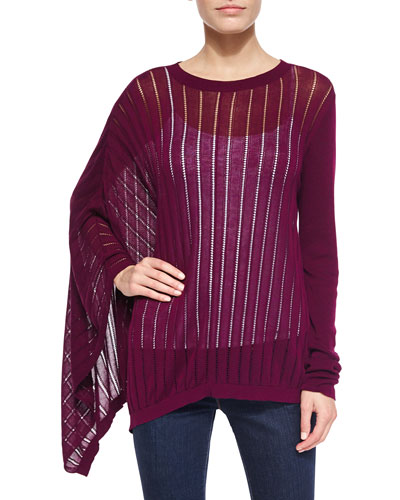 Asymmetric-Sleeve Pointelle Poncho