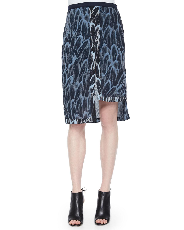 0461d899b28 Halston Heritage Feather-Print Skirt W  Tiered Hem