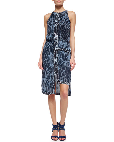 Sleeveless Feather-Print Tiered-Hem Dress