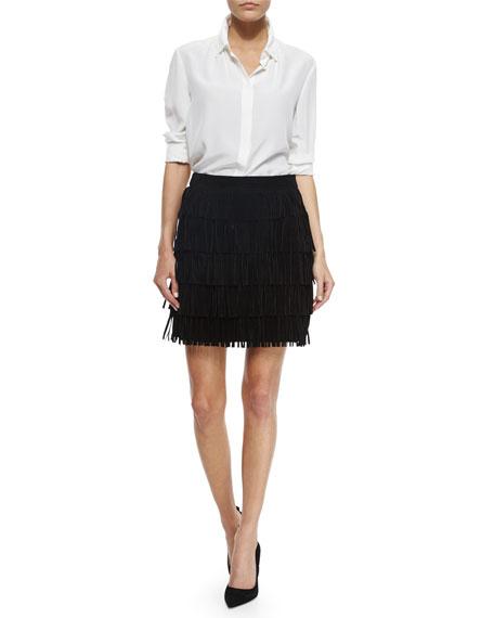 kate spade new york mini fringe leather skirt