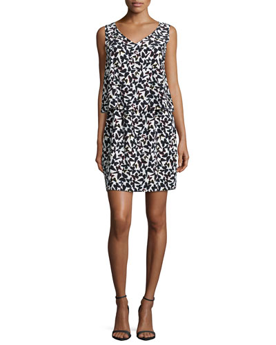 sleeveless butterfly-print popover dress
