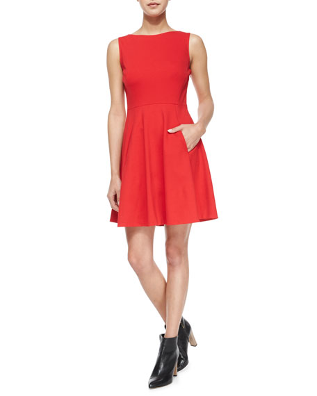 sleeveless bow-back fit-and-flare dress, spicy red