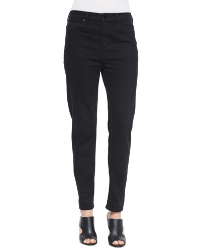 High-Waist Straight-Leg Boyfriend Jeans, Black Fade