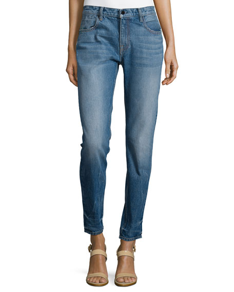 T by Alexander Wang Medium-Wash Straight-Leg Jeans, Light